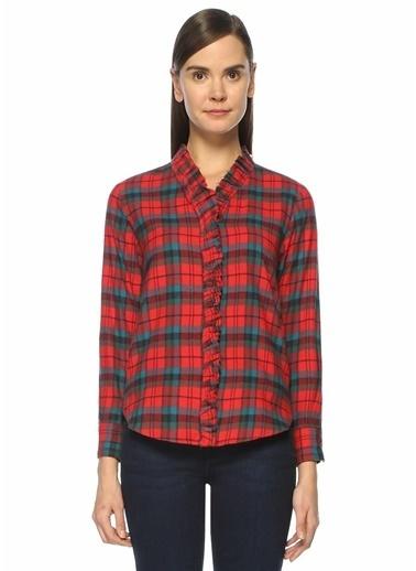 Etoile Isabel Marant V Yaka Ekose Desenli Fırfır Detaylı Gizli Düğme Kapamalı Uzun Kollu Gömlek Kırmızı